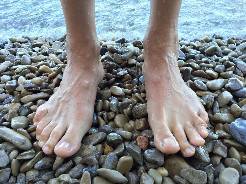 Bare feet of an orthotics patient